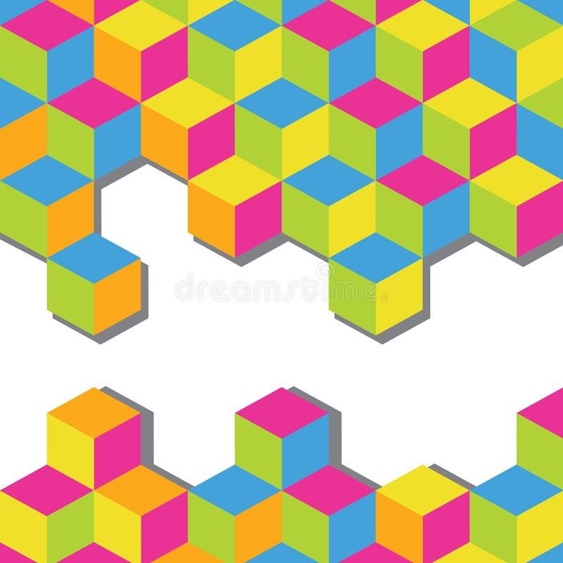 för kubmosaik för abstrakt bakgrund färgrik vektor stock illustrationer