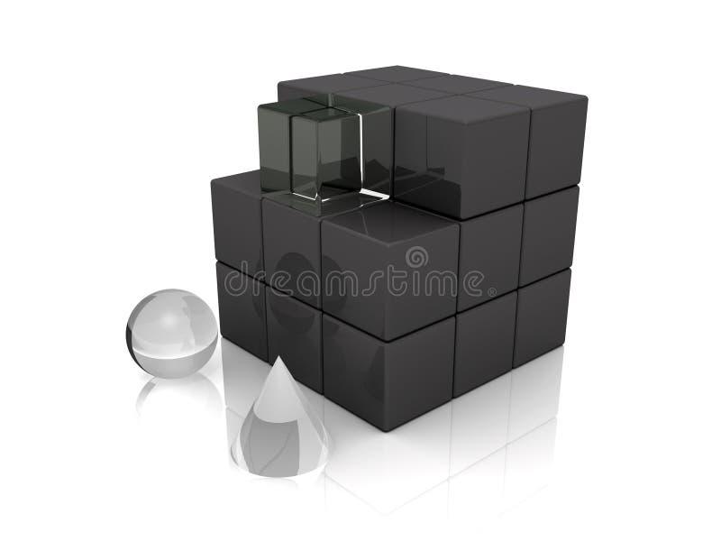 för kubsymboler för kotte 3d sphere stock illustrationer