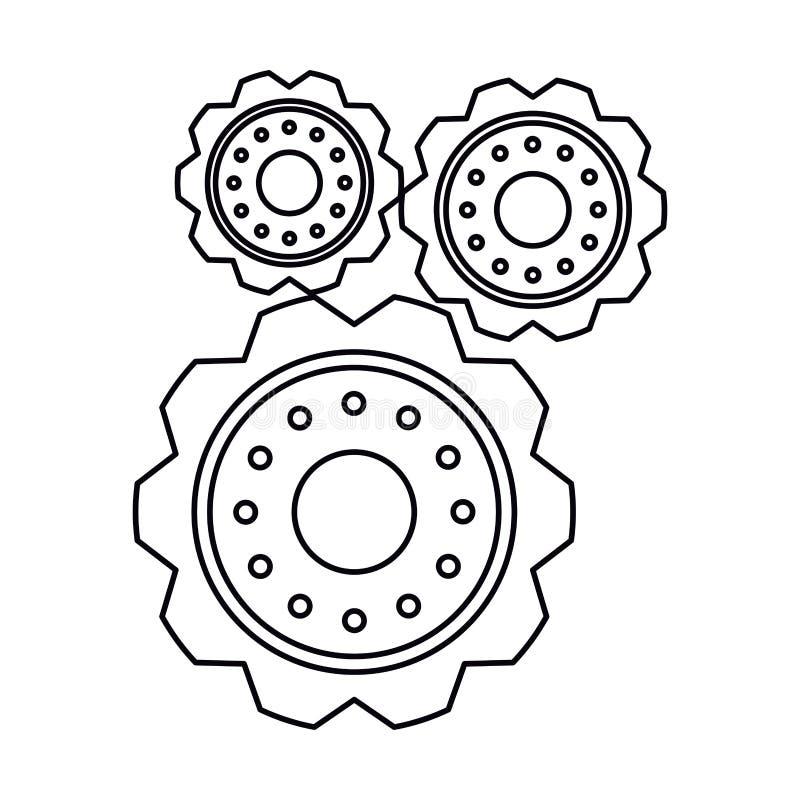 För kugghjulhjul för Pictogram tre symbol för kugge för motor royaltyfri illustrationer