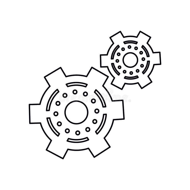 För kugghjulhjul för Pictogram två symbol för kugge för motor royaltyfri illustrationer