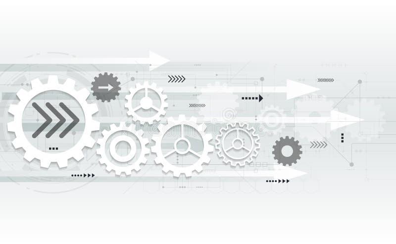 För kugghjulhjul för vektor abstrakt futuristisk teknik på strömkretsbräde royaltyfri illustrationer