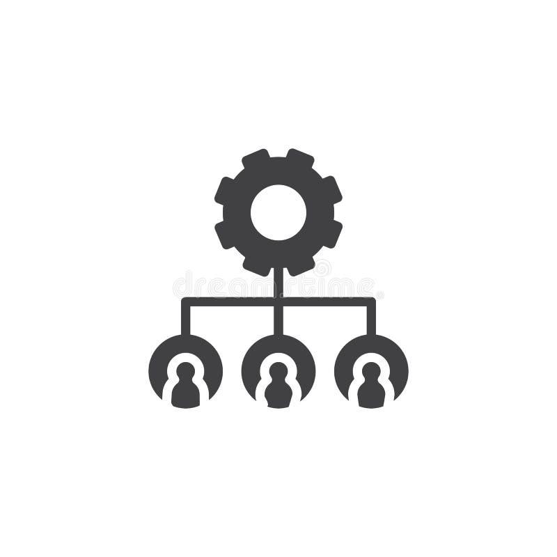 För kugghjulvektor för hierarkisk struktur symbol vektor illustrationer