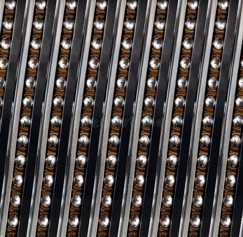För kullagerabstrakt begrepp för sömlös modell linjär industriell fractal Fodrar vertikal diagonal vänstersida för kullager linjä fotografering för bildbyråer