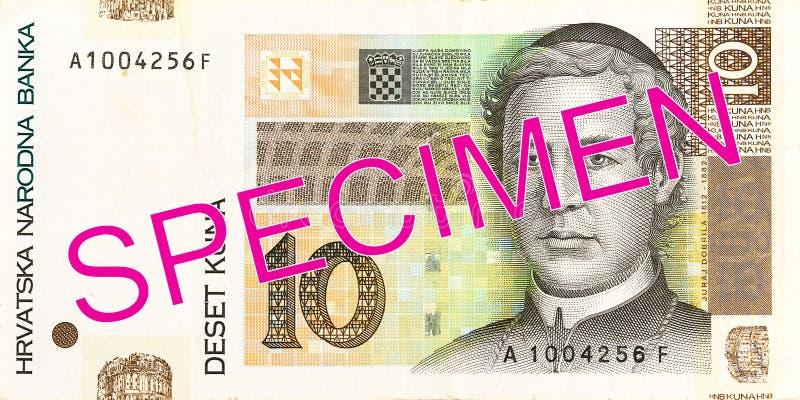 för kunasedel för 10 kroat avers arkivfoto