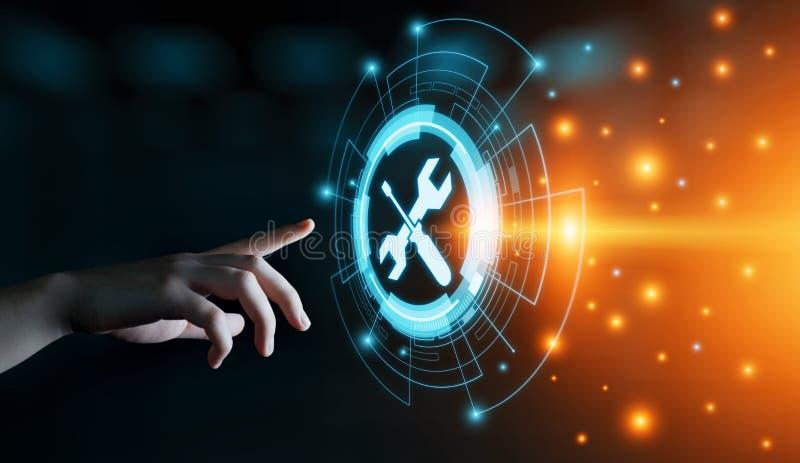 För kundtjänstaffär för teknisk service begrepp för internet för teknologi arkivfoton