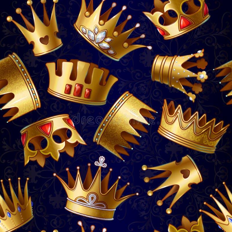 För kunglig personkronor för tecknad film guld- modell vektor illustrationer
