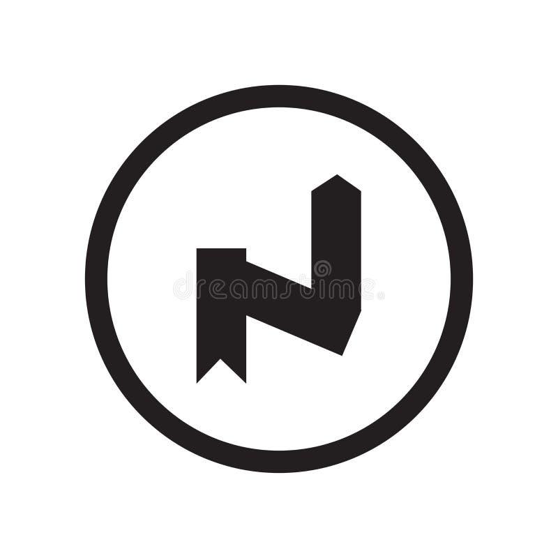 För kurvsymbol för rätt som omvänt tecken och symbol för vektor isoleras på vit bakgrund, högert omvänt kurvlogobegrepp stock illustrationer