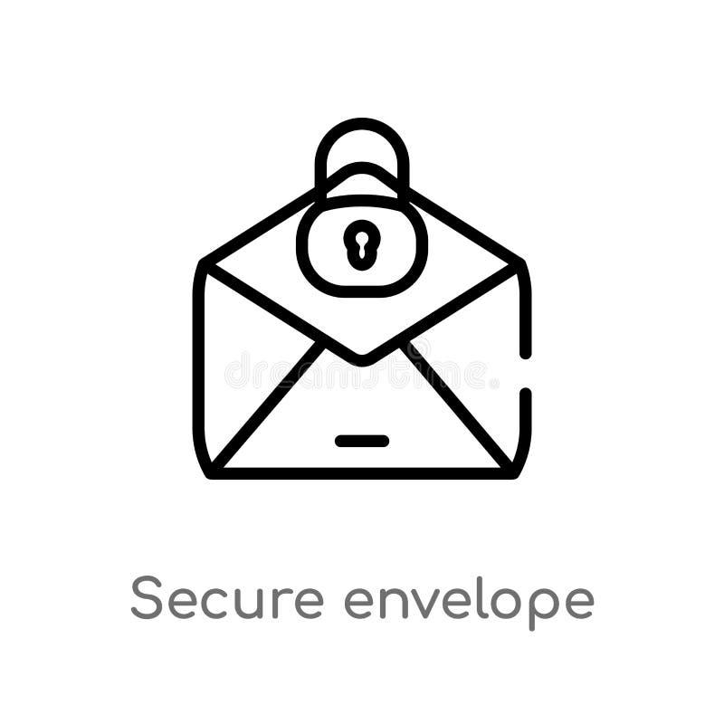för kuvertvektor för översikt säker symbol isolerad svart enkel linje beståndsdelillustration från säkerhetsbegrepp Redigerbar ve royaltyfri illustrationer