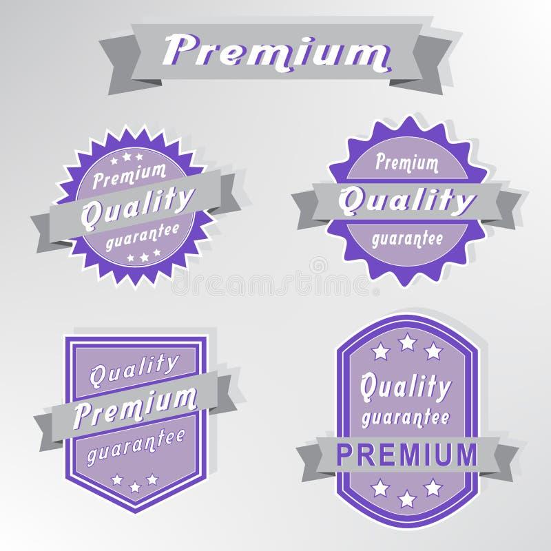 för kvalitetsset för guarantee högvärdiga stämplar stock illustrationer