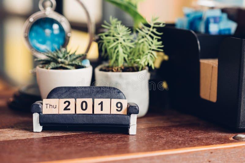 för kvarternummer för nytt år 2019 trädesign arkivbilder