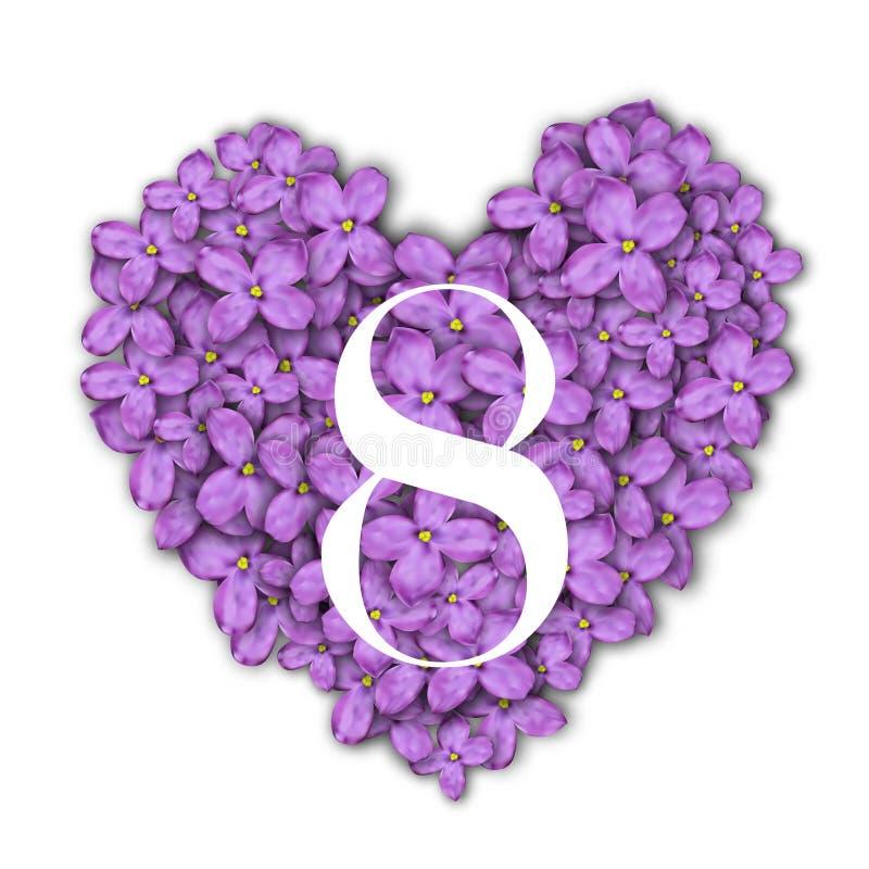 8 för kvinna` s för mars mall för kort för hälsning för dag Nummer 8 på hjärtan av en lila bakgrund Lyckönskan på mars 8 stock illustrationer