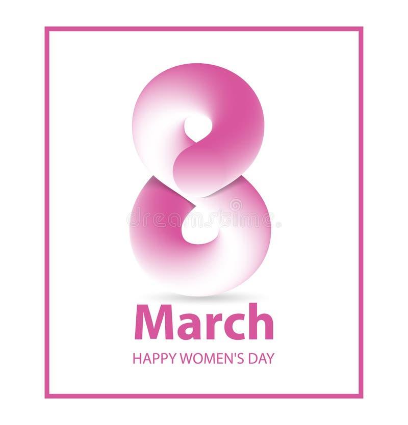 8 för kvinna` s för mars affisch för dag för ` s för kvinnor för mall för kort för hälsning för dag internationell 8 illustration vektor illustrationer