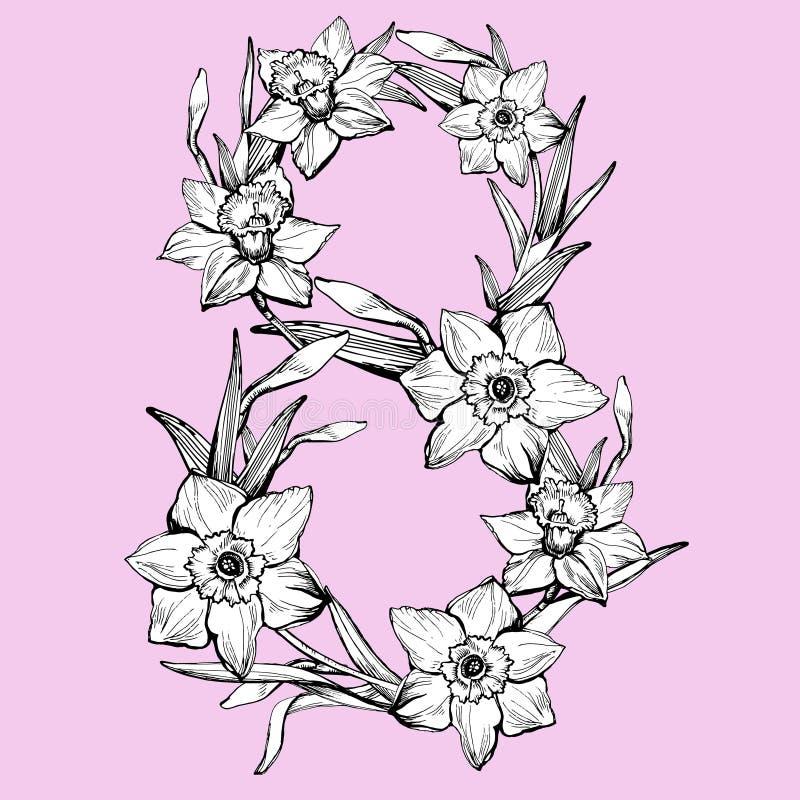 8 för kvinna` s för mars internationell dag Pingstlilja för blommor för wifh för hälsningkort arkivfoto