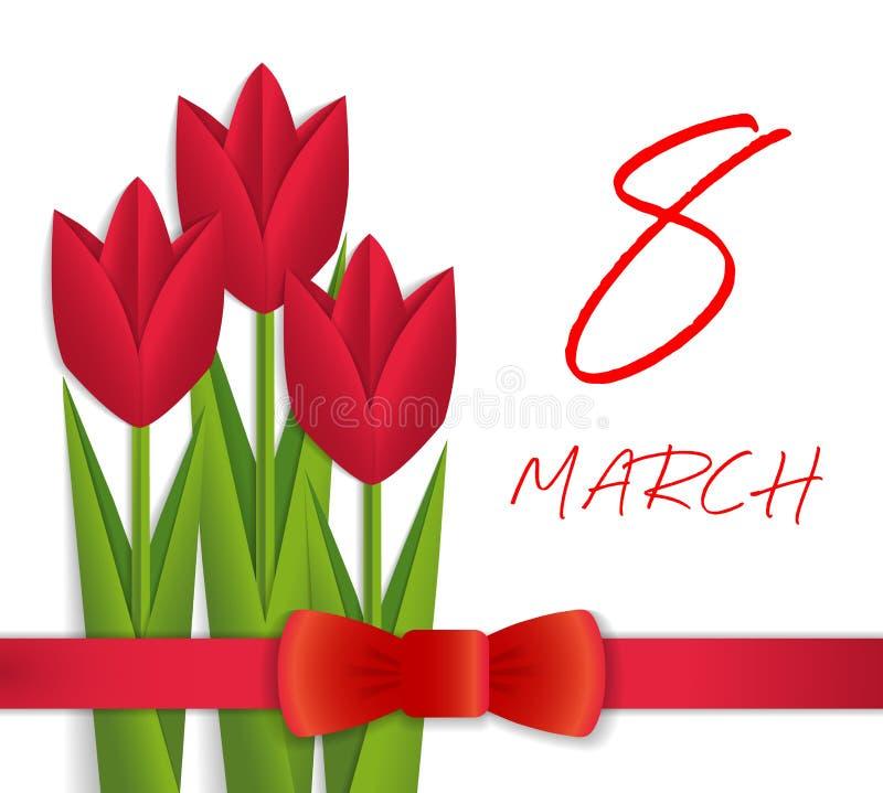 8 för kvinna` s för mars kort för hälsning för dag vektor illustrationer