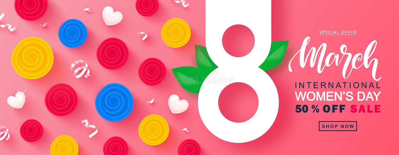 8 för kvinna` s för mars lyckligt baner för försäljning för dag Härlig bakgrund med färgrika rosor, hjärtor och slingrande vektor royaltyfri illustrationer
