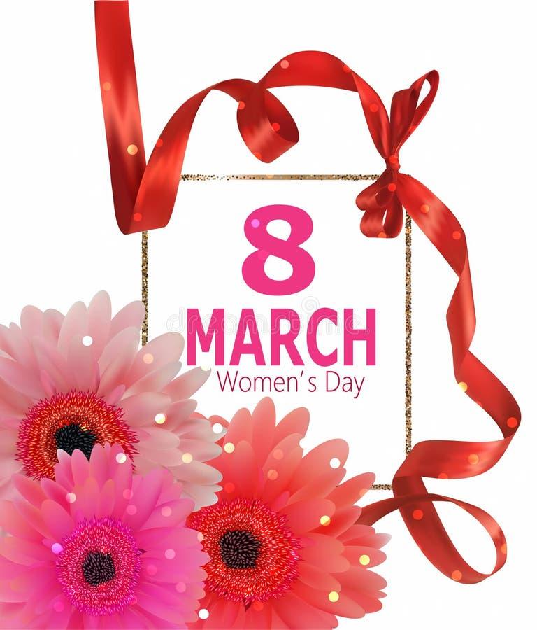 8 för kvinna` s för marsch baner för dag med det lockiga bandet och gerberas stock illustrationer