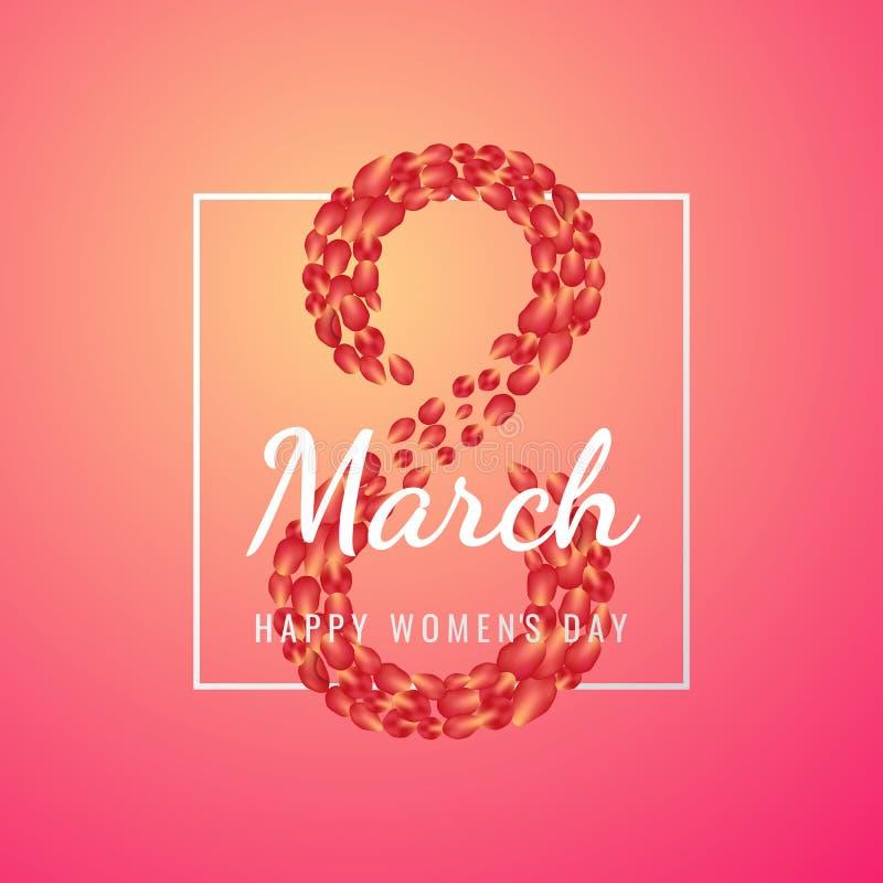 8 för kvinna` s för marsch internationell bakgrund för dag med blommakronblad illustrationen kan användas i informationsbladet, b vektor illustrationer