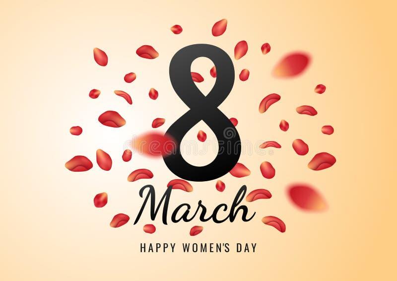 8 för kvinna` s för marsch internationell bakgrund för dag med blommakronblad illustrationen kan användas i informationsbladet, b royaltyfri illustrationer