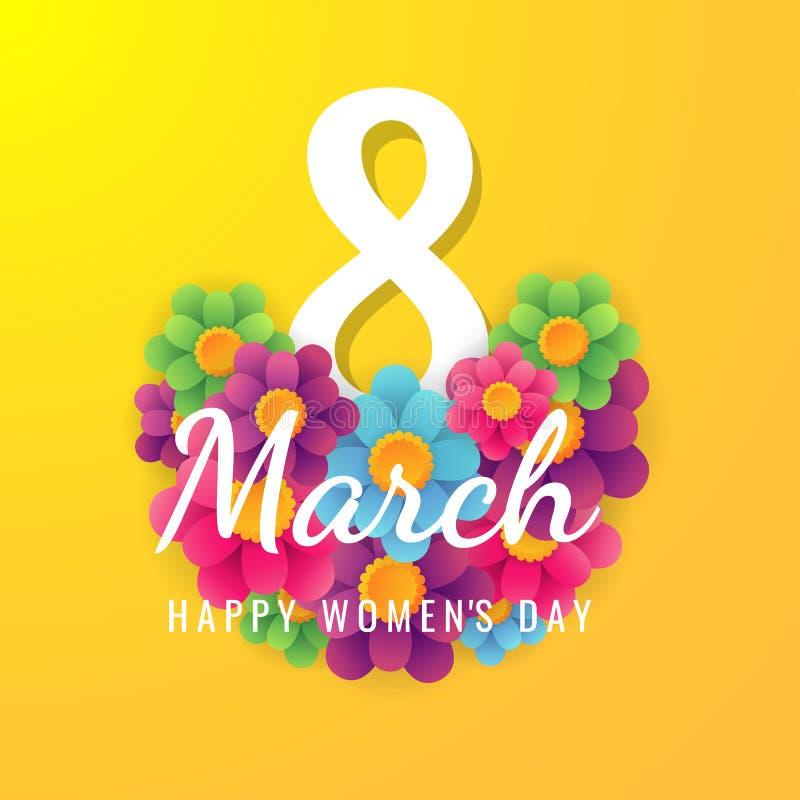 8 för kvinna` s för marsch internationell bakgrund för dag med blommakronblad illustrationen kan användas i informationsbladet, b stock illustrationer