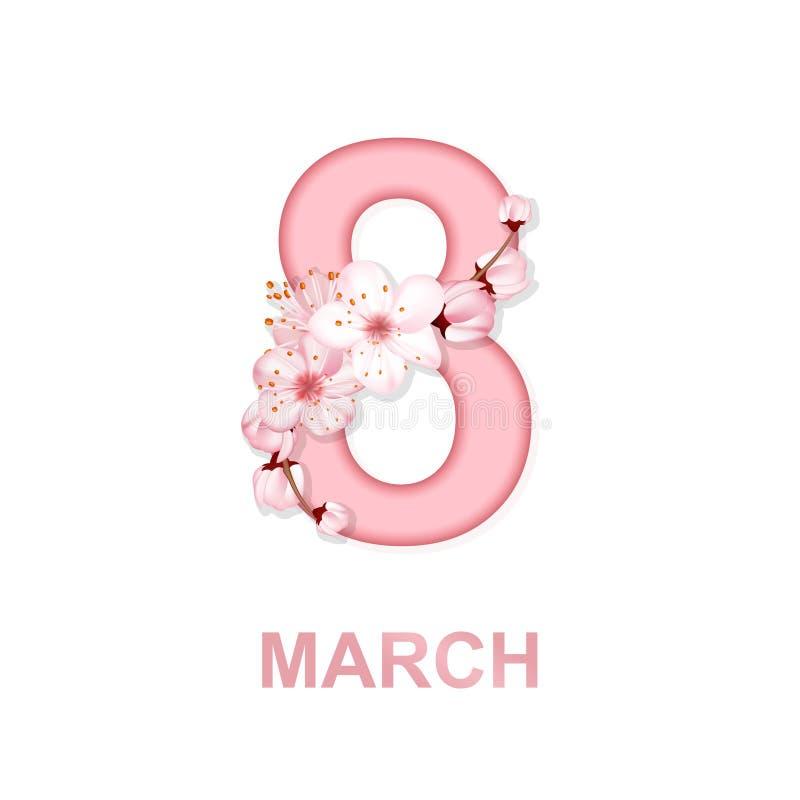 8 för kvinna` s för marsch internationell bakgrund för dag med blommor Design för kort för hälsning för körsbärsröda blomningar f vektor illustrationer
