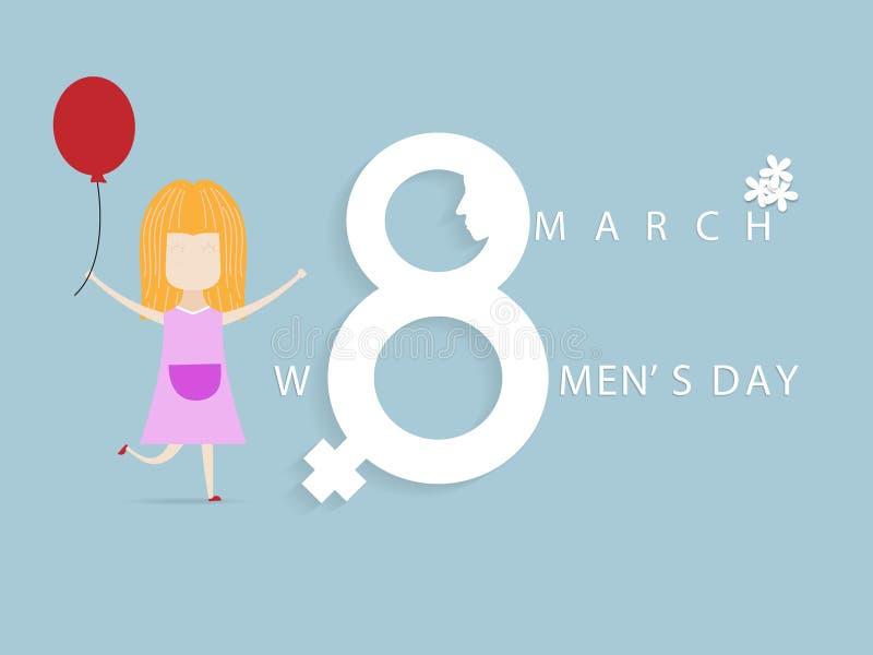 8 för kvinna` s för marsch internationell bakgrund för tecknad film för kort för hälsning för dag stock illustrationer