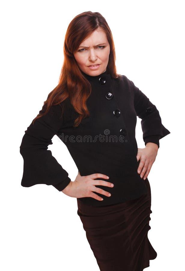 För kvinnabrunett för flicka ilsken missnöjd isolat för konflikt för familj för mamma royaltyfri fotografi