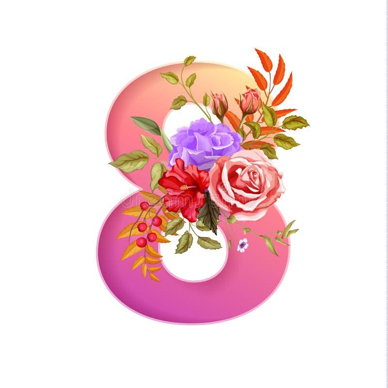8 för kvinnadag för marsch internationell blomma för ferie vektor illustrationer