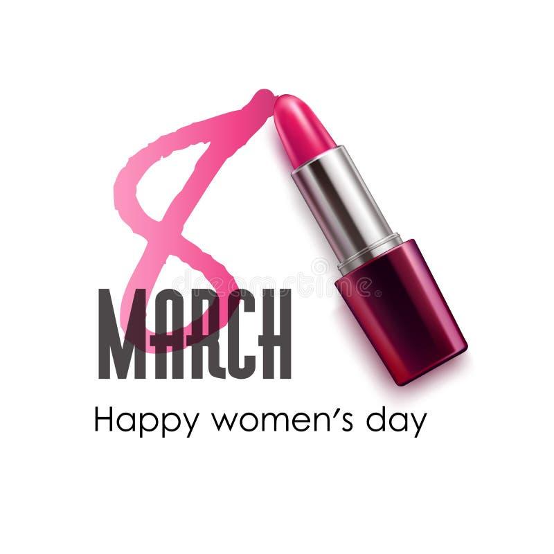 8 för kvinnadag för marsch internationell pomada för läppstift vektor illustrationer