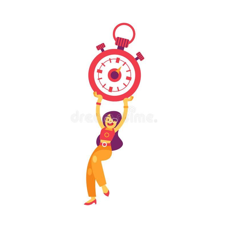 För kvinnainnehav för vektor som plan stoppur ler symbolen vektor illustrationer