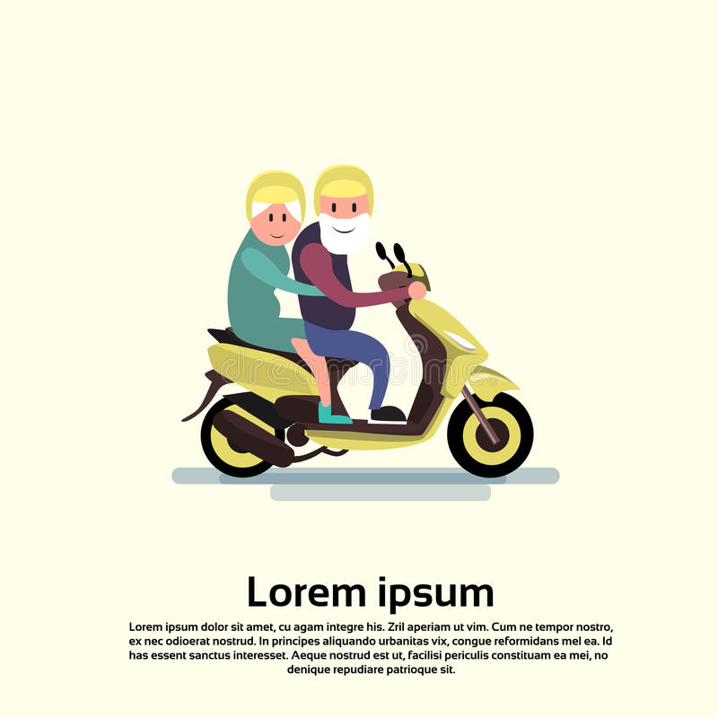 För kvinnapar för hög man motorcykel för ritt royaltyfri illustrationer