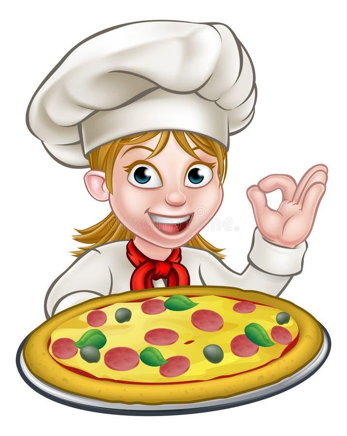 För kvinnapizza för tecknad film kvinnlig kock stock illustrationer