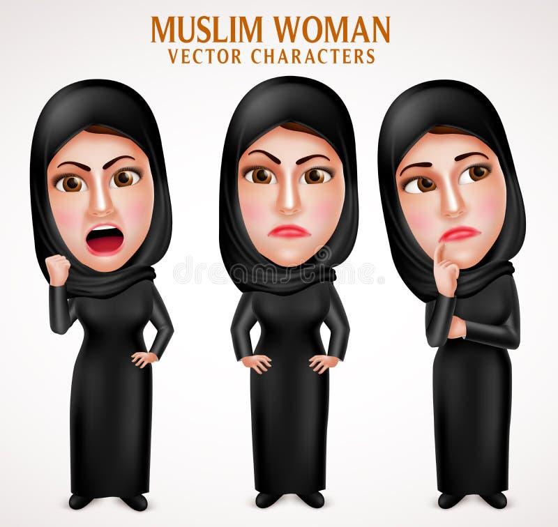 För kvinnavektor för ilskna muslim arabiska tecken med ansiktsuttryck vektor illustrationer