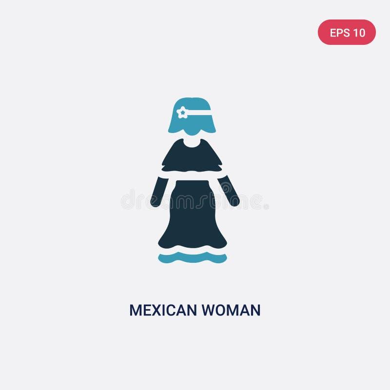 För kvinnavektor för två färg mexikansk symbol från folkbegrepp det isolerade blåa mexikanska symbolet för kvinnavektortecknet ka royaltyfri illustrationer