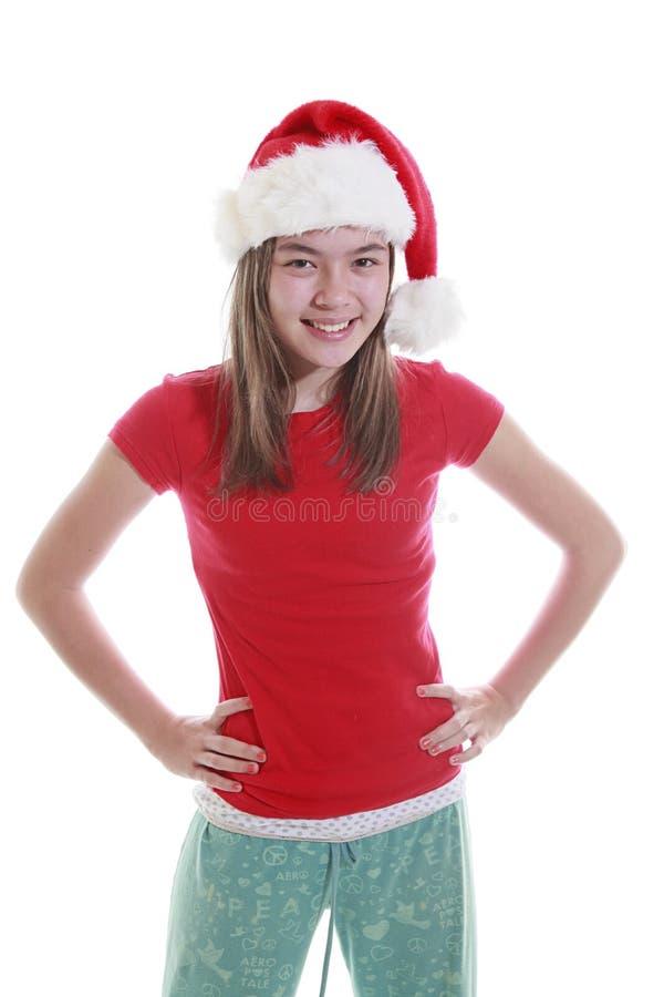 för kvinnaxmas för hatt le barn royaltyfria bilder