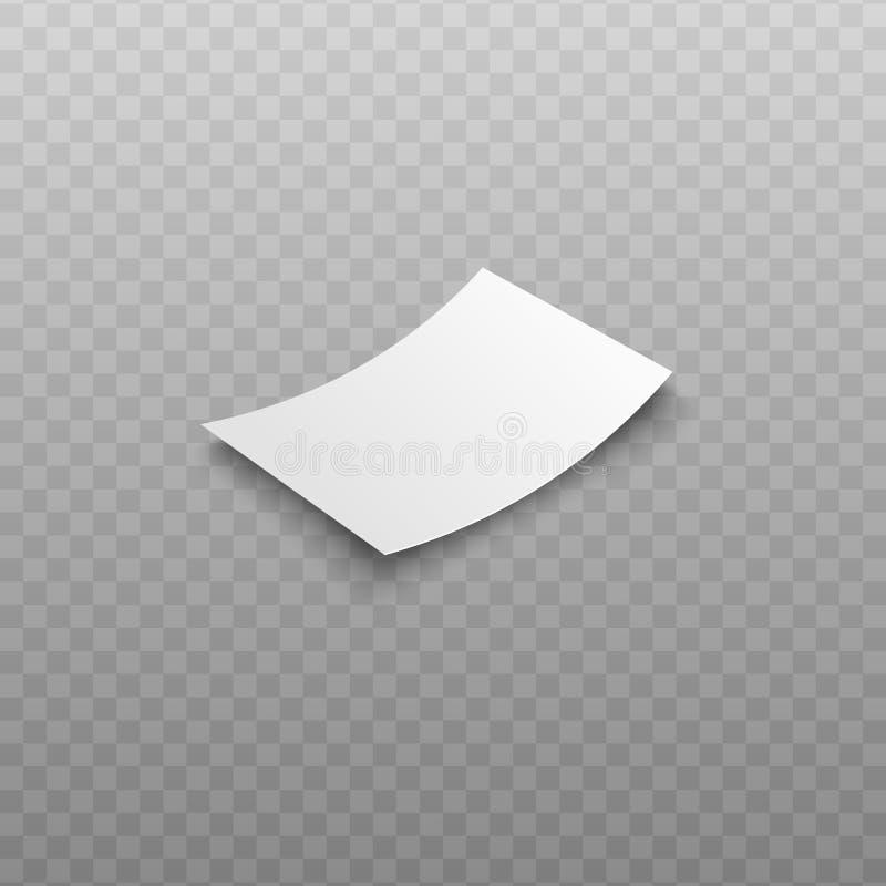 För kvittovektor för tom räkning som eller fakturamall isoleras på genomskinlig bakgrund stock illustrationer