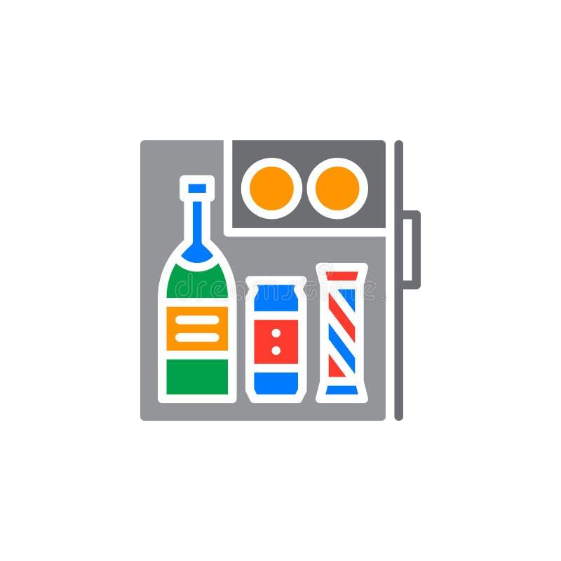 För kylstång för hotell mini- vektor för symbol, fyllt plant tecken, fast färgrik pictogram som isoleras på vit stock illustrationer