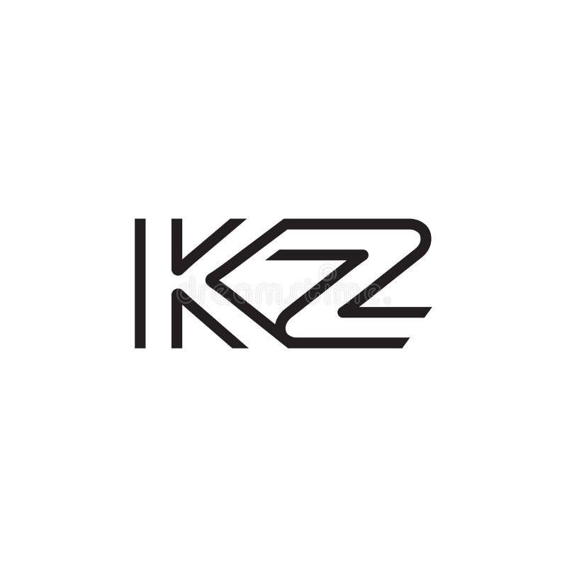 För KZ-logo för initial bokstav linje unikt modernt vektor illustrationer