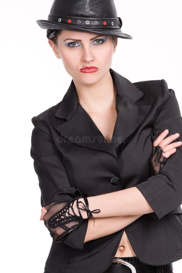 för läderkvinna för svart hatt barn arkivfoto