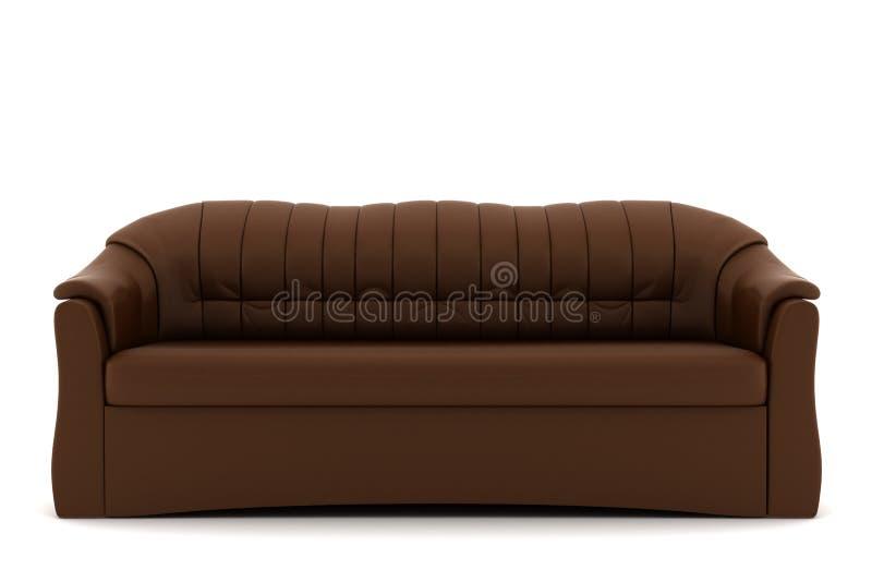 för lädersofa för bakgrund brun isolerad white royaltyfria bilder
