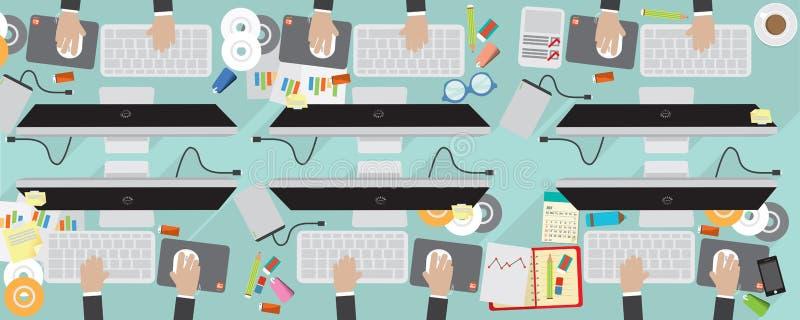 för lägenhetsikt för PIXEL 8000x3200 arbetsplats för affär med datoren stock illustrationer