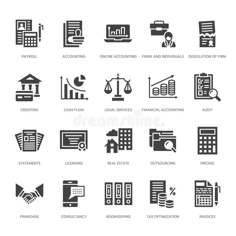 För lägenhetskåra för finansiell redovisning symboler Bokföring skattoptimization, firma, revisorentreprenadisering, lönelista, f vektor illustrationer