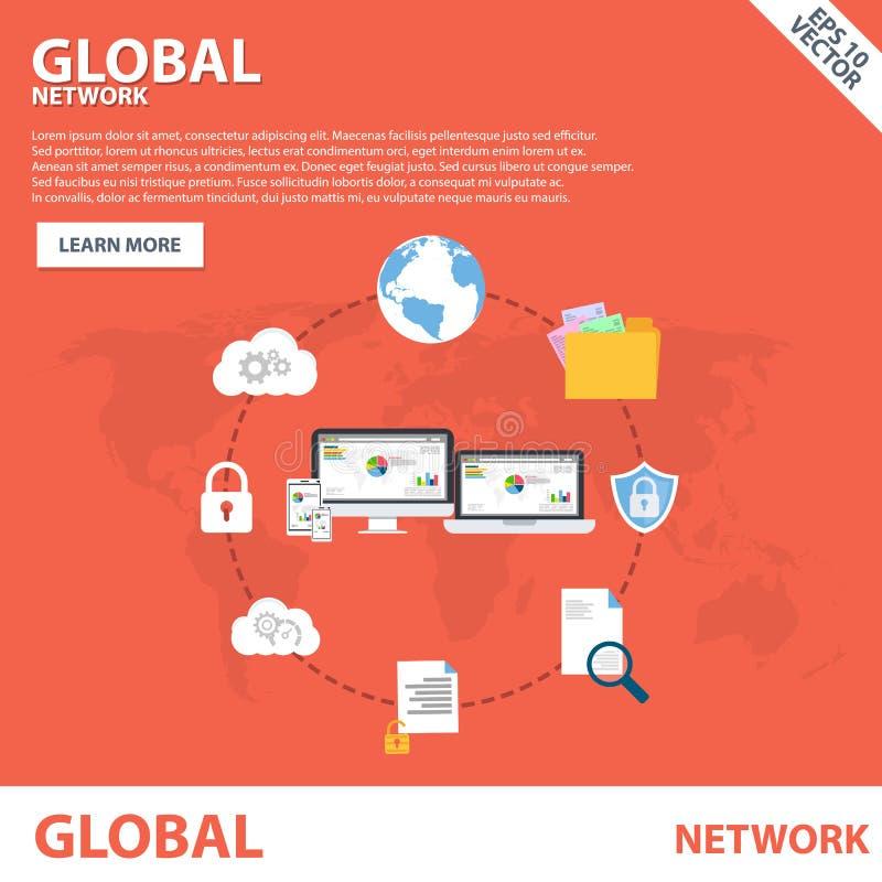 För lägenhetsymbol för globalt nätverk mall för begrepp för baner stock illustrationer
