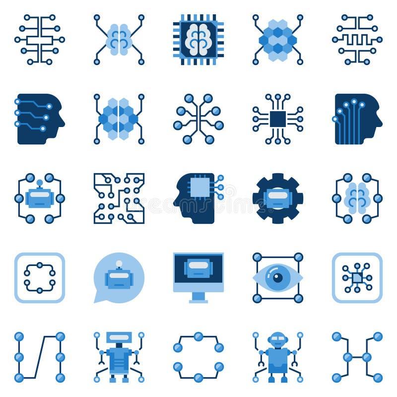 För lägenhetsymboler för konstgjord intelligens uppsättning VektorAI-symboler stock illustrationer