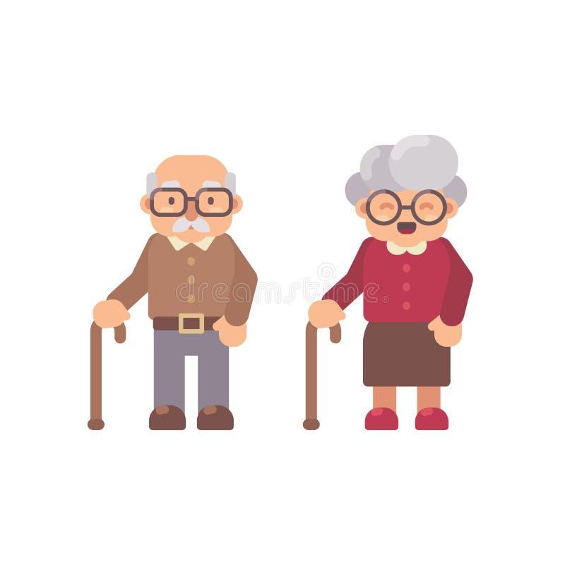 För lägenhettecken för gamal man och för gammal dam illustration Morförälderdag royaltyfri illustrationer