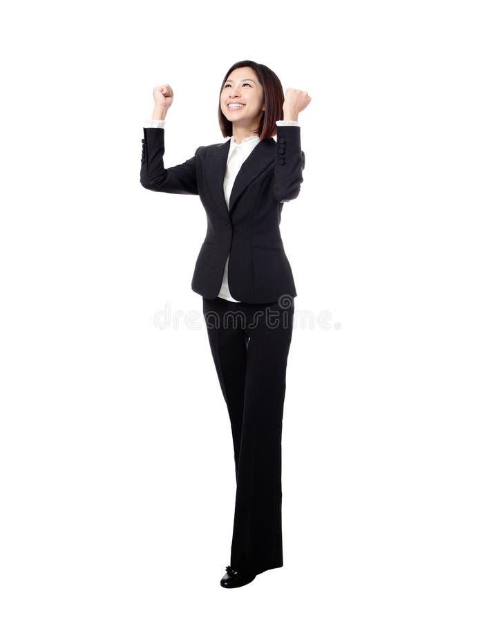 för längdframgång för affär full kvinna för vinnare royaltyfria foton