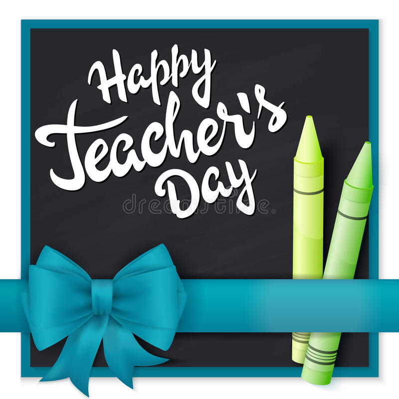 För läraredag för vektor hand dragen etikett för hälsningar för bokstäver - lycklig läraredag med det realistiska bandet och blye royaltyfri illustrationer