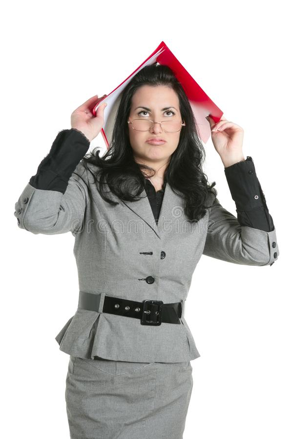 för lärarerubbning för affärskvinna upptagen kvinna royaltyfri bild