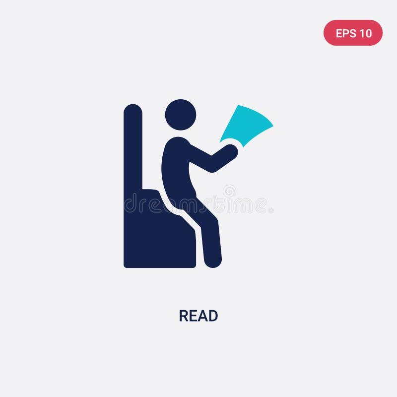 för läsningsvektor för två färg symbol från begrepp för utomhus- aktiviteter det isolerade blåa lästa vektorteckensymbolet kan va royaltyfri illustrationer