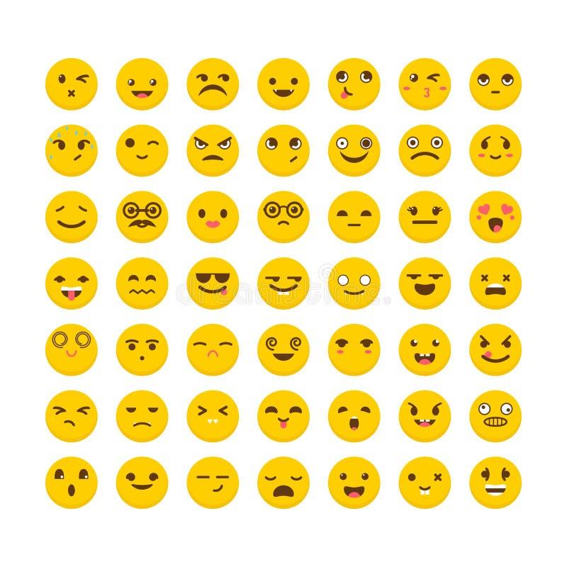 för lätt redigerbar set vektor emoticonsillustration för färger Gulliga emojisymboler _ Stor samling med stock illustrationer