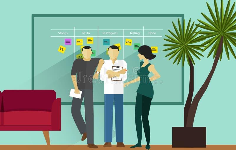 För lättrörlig stående möte metodikprogramvara för klunga royaltyfri illustrationer